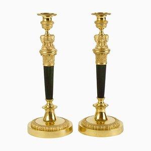 Candeleros imperiales franceses grandes con cariátide femenina, principios del siglo XIX. Juego de 2
