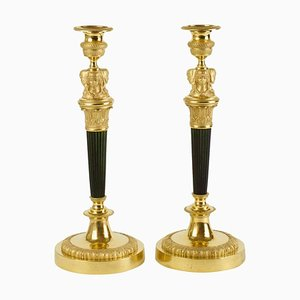 Couple Big French Empire Candlers With Female Caryatid, Early 19th Century, Set of 2