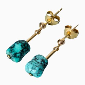 Gold and Turquoise Earrings from Gustaf Dahlgren & Co, Set of 2
