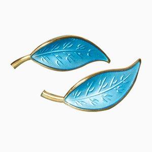 Gilded Enamel Earrings from David Andersen, Set of 2