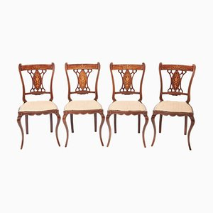 Antique Edwardian Rosewood Inlaid Dining Chairs, Set of 4