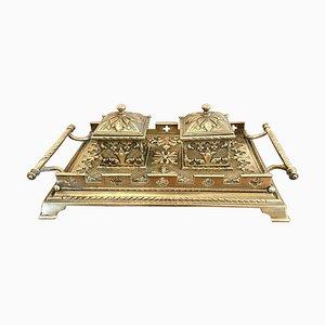 Antikes viktorianisches Schreibtischset aus Messing