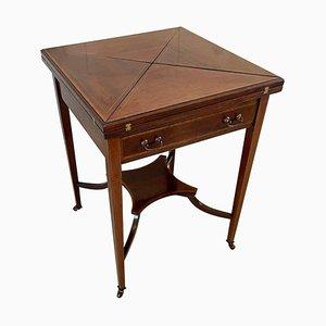 Table à Cartes Édouardienne Antique en Acajou Marqueté