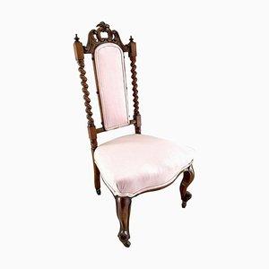 Chaise d'Appoint Victorienne Antique en Noyer Sculpté