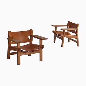 Danish Spanish Lounge Chairs in Oak and Saddle Leather from Fredericia, Set of 2