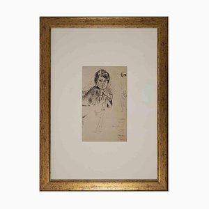 Mino Maccari, Portrait de Femme, Technique Mixte Originale, Milieu du 20ème Siècle
