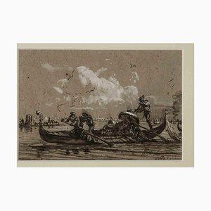 Friedrich Paul Nerly, Venecia, acuarela original, década de 1870
