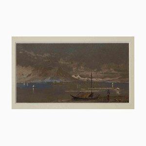 Desconocido, Como, La montaña en el lago, tinta y acuarela originales, mediados del siglo XX