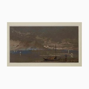 Unbekannt, Como, The Mountain on the Lake, Original Tusche und Aquarell, Mitte 20. Jh