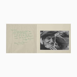 Carta autógrafa firmada de Giuseppe Ungaretti, fotografía vintage en blanco y negro, 1954