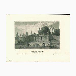 Desconocida, antigua vista de Benarés, litografía original, principios del siglo XIX