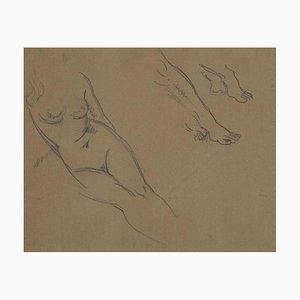 Mino Maccari, Study of Figure, Dibujo a lápiz original, principios de 1900