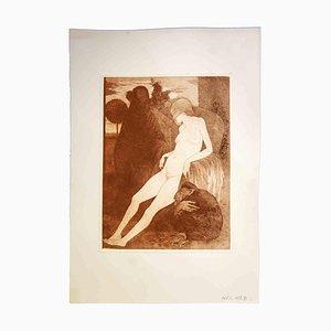Leo Guida, Reclined Nude, Original Etching, 1970s