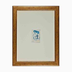 Mino Maccari, mujer azul, acuarela original sobre papel, años 70
