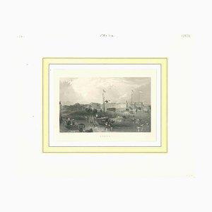 Desconocido, Vista antigua de Cantón, Litografía original sobre papel, mediados del siglo XIX