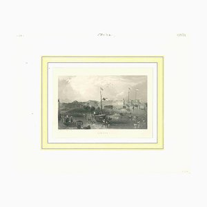 Unknown, Ancient View of Canton, Original Lithograph on Paper, Mid-19th-Century