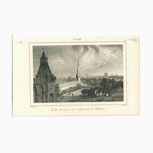Desconocida, antigua vista de Moscú, litografía original en papel, década de 1850