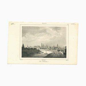 Litografía original sobre papel, antigua vista del Kremlin, década de 1850