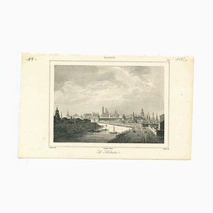 Unknown, Ancient View of the Kremlin, Original Lithograph on Paper, 1850s