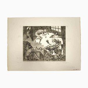 Leo Guida, Es ist noch nicht tot, Original Schwarz-Weiß-Radierung, 1975