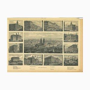 Desconocida, antiguas vistas de San Francisco, litografía original, década de 1850