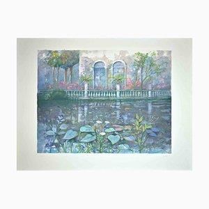 Impresión original de Giuseppe Giorgi, Villa on the Lake, años 80