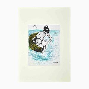 Gaston Livragne, The Bather, dibujo original, años 60