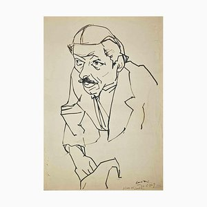 Umberto Maria Casotti, Portrait, Dessin Original à la Plume, 1947