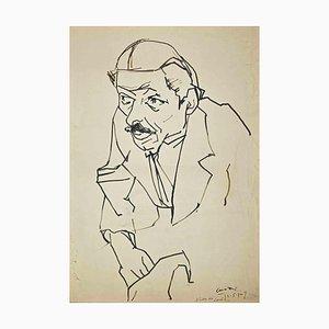 Umberto Maria Casotti, retrato, dibujo a pluma original, 1947