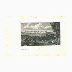 Litografía original, Desconocida, Vista antigua de Nueva York, 1850
