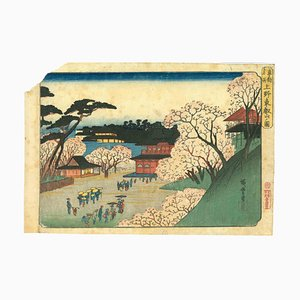 Utagawa Hiroshige, Tôeizan Tempel in Ueno, Original Holzschnitt, 1832