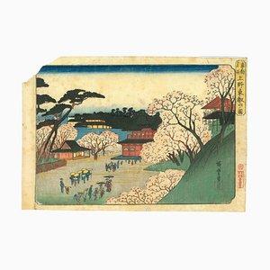 Utagawa Hiroshige, Tôeizan Temple en Ueno, Xilografía original, 1832