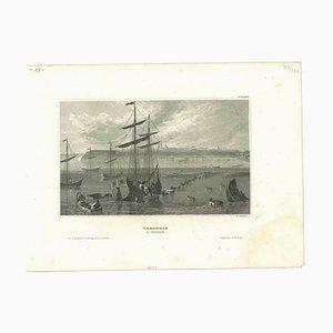 Desconocida, antigua vista de Taganrog, litografía original en papel, década de 1850