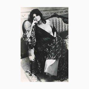 Fotografía vintage en blanco y negro de Ansa Agency, Portrait of Anna Magnani, años 50