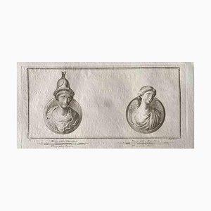 Varios antiguos maestros, busto romano, aguafuerte original, década de 1750