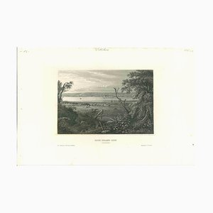 Litografía original, antigua vista de Rock Island City, década de 1850
