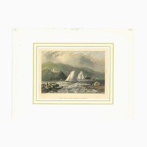 Desconocida, antigua vista del desembarco de Caldwell, litografía original, década de 1850