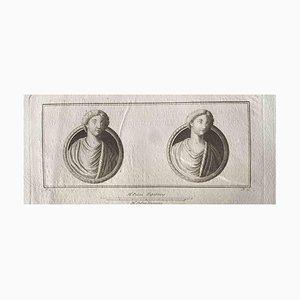 Bustos romanos antiguos, aguafuerte original, siglo XVIII