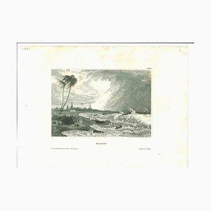 Desconocida, antigua vista de Madrás, litografía original, principios del siglo XIX