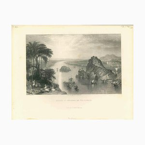 Desconocido, Escena en Colgong on the Ganges, Litografía original, principios del siglo XIX