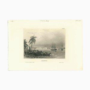 Desconocida, antigua vista de Calcuta, litografía original, principios del siglo XIX