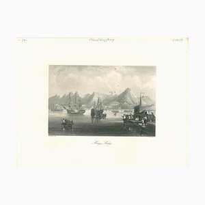 Desconocida, antigua vista de Hong Kong, litografía original, principios del siglo XIX