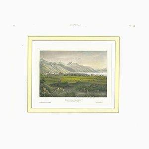 Litografía original, antigua vista de Salt Lake City, década de 1850