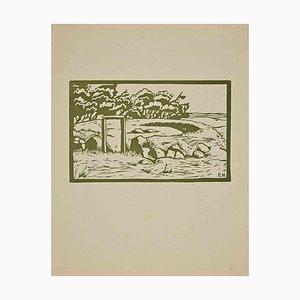 Ebba Holm, Tisvilde, Original Holzschnitt, 1925