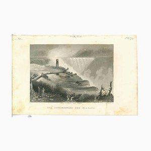 Desconocida, Vista antigua de las cataratas del Niágara, Litografía original, década de 1850