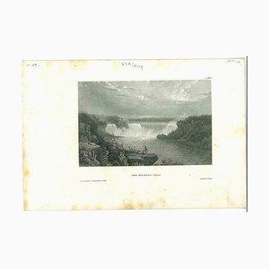 Desconocida, antigua vista de las cataratas del Niágara, litografía original, década de 1850