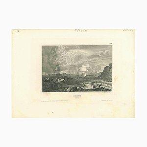 Desconocido, Vista antigua de La Valletta, Litografía original, principios del siglo XIX