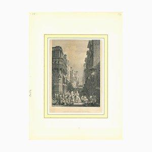 Desconocido, Strada St. Giovanni, Valletta, Litografía original, principios del siglo XIX