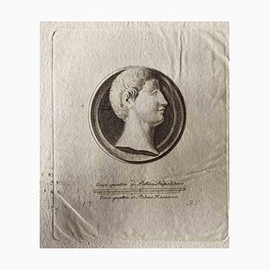 Grabado original, varios artistas, medalla romana, década de 1750