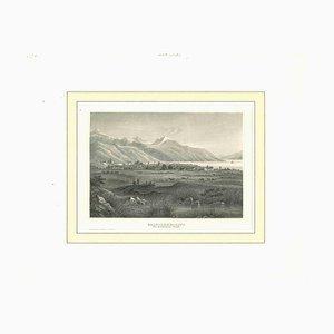 Desconocida, antigua vista de Salt Lake City, litografía original, principios del siglo XIX